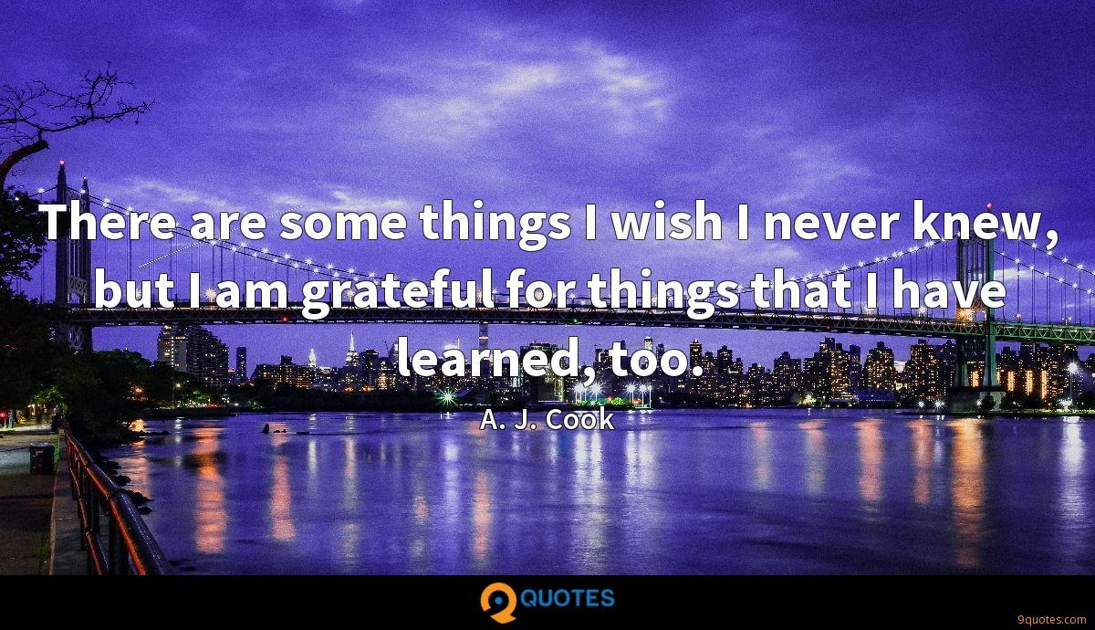 There are some things I wish I never knew, but I am grateful for things that I have learned, too.