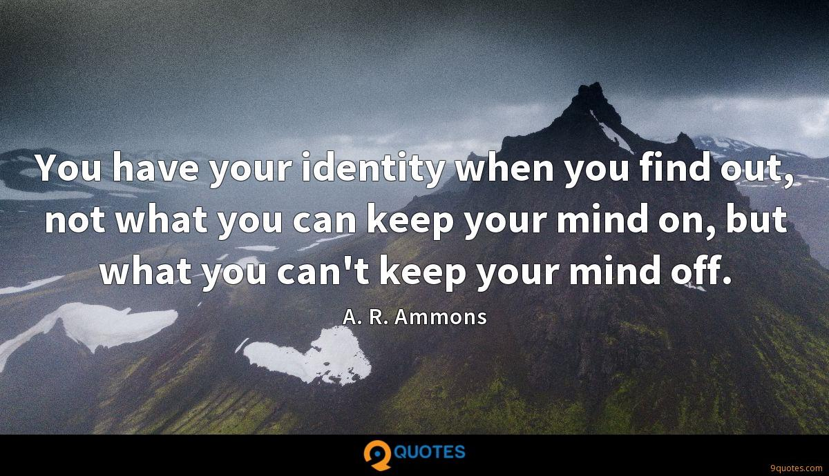 You have your identity when you find out, not what you can keep your mind on, but what you can't keep your mind off.
