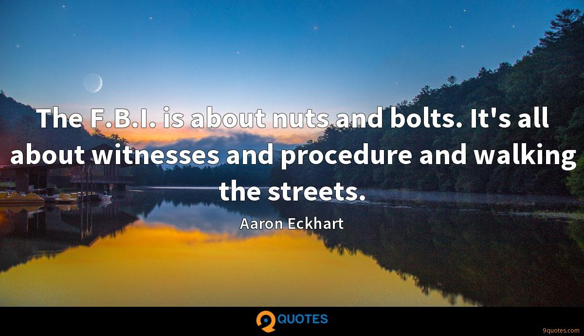 The F.B.I. is about nuts and bolts. It's all about witnesses and procedure and walking the streets.