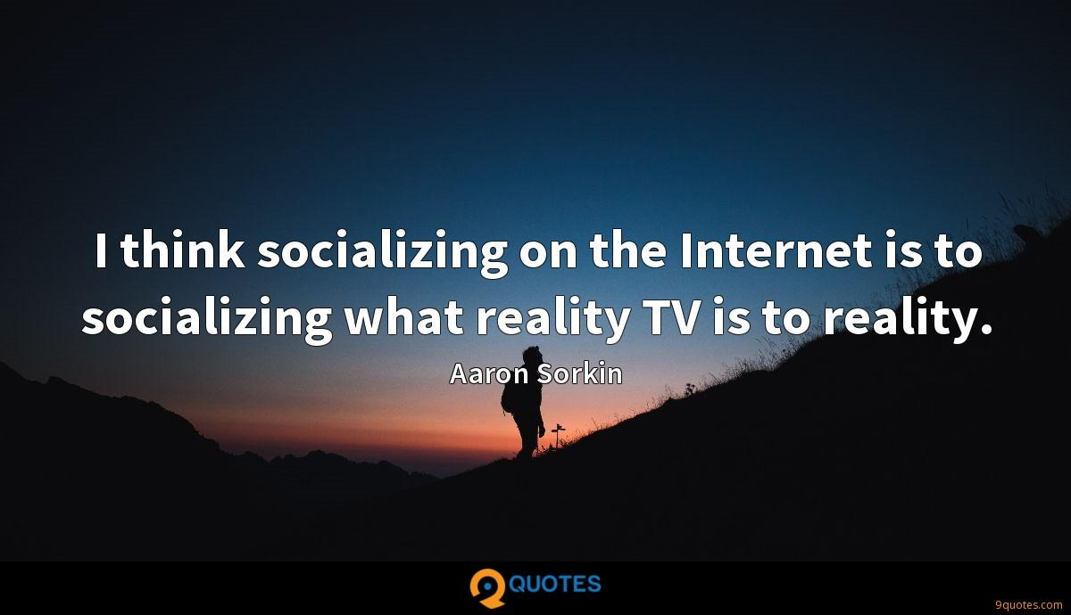 I think socializing on the Internet is to socializing what reality TV is to reality.
