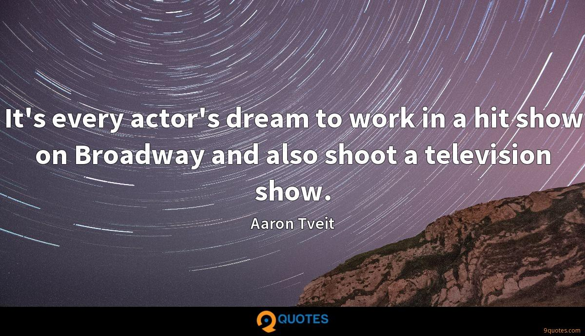 It's every actor's dream to work in a hit show on Broadway and also shoot a television show.