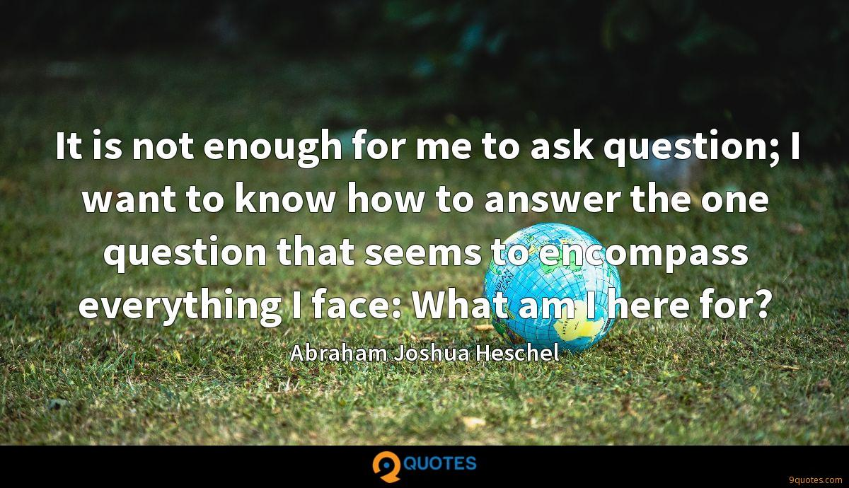 It is not enough for me to ask question; I want to know how to answer the one question that seems to encompass everything I face: What am I here for?