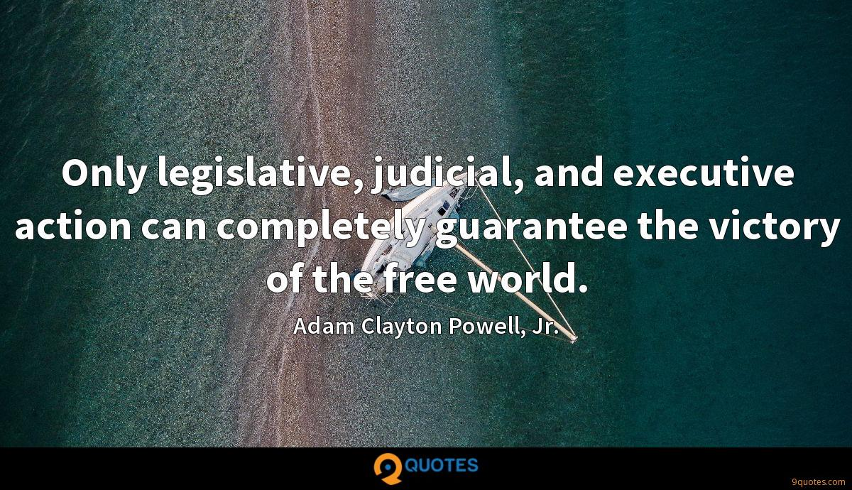 Only legislative, judicial, and executive action can completely guarantee the victory of the free world.