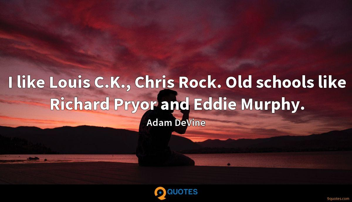 I like Louis C.K., Chris Rock. Old schools like Richard Pryor and Eddie Murphy.