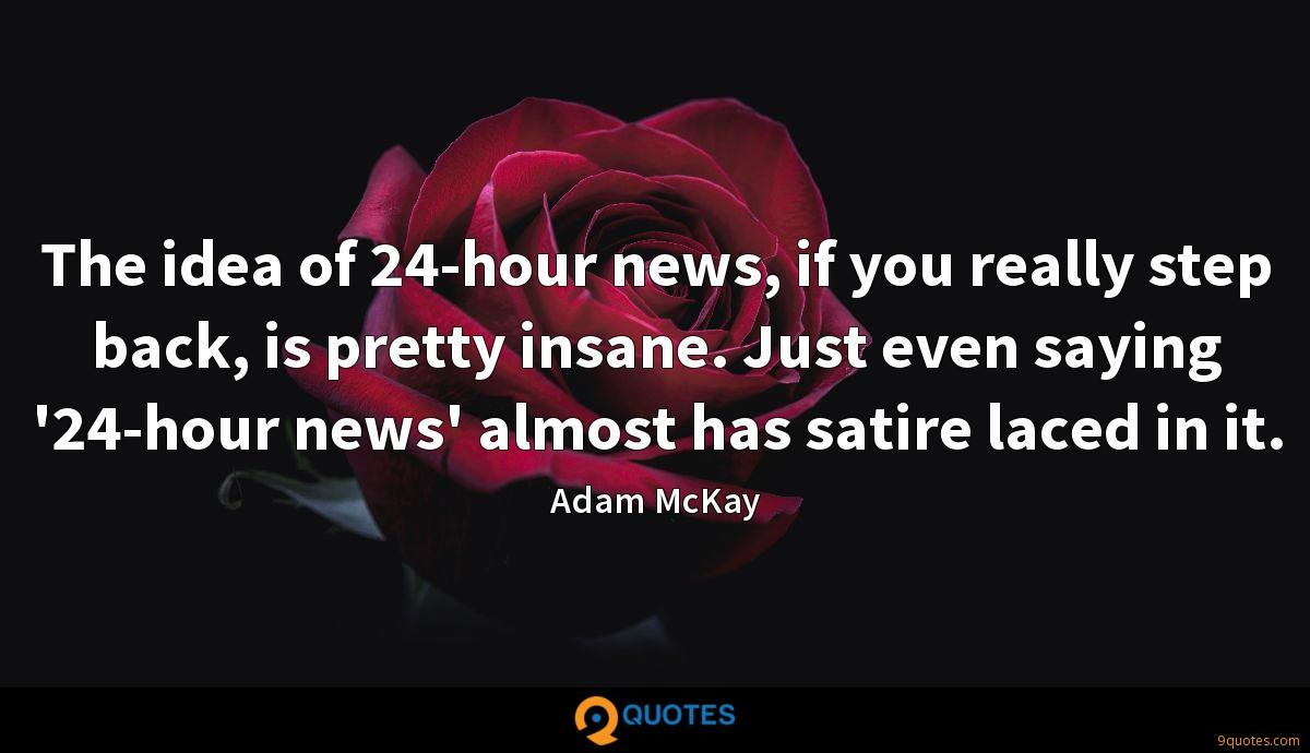 The idea of 24-hour news, if you really step back, is pretty insane. Just even saying '24-hour news' almost has satire laced in it.