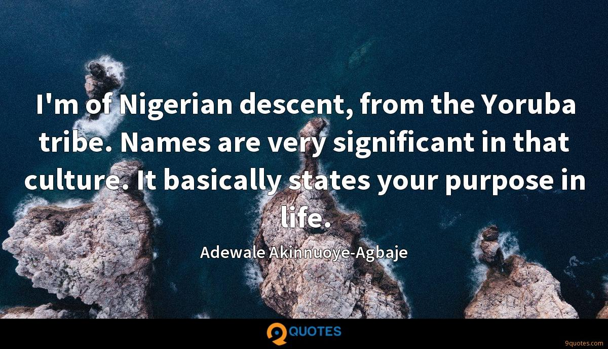 I'm of Nigerian descent, from the Yoruba tribe. Names are very significant in that culture. It basically states your purpose in life.