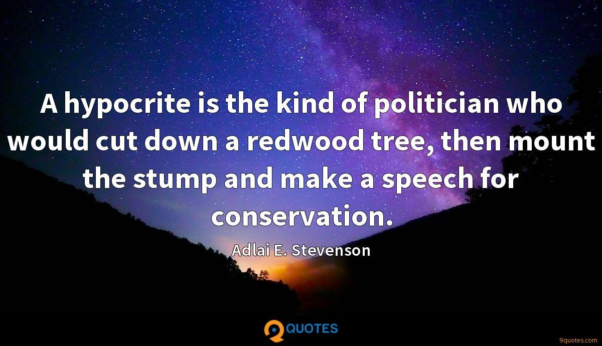 A hypocrite is the kind of politician who would cut down a redwood tree, then mount the stump and make a speech for conservation.
