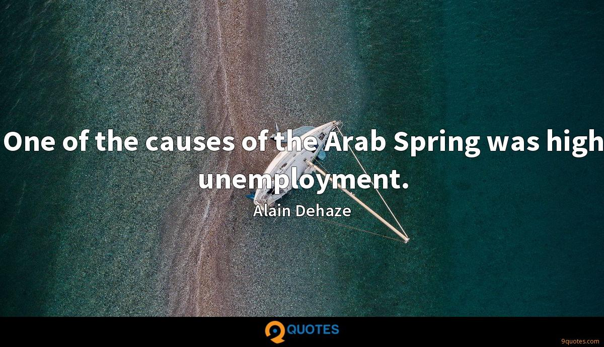One of the causes of the Arab Spring was high unemployment.