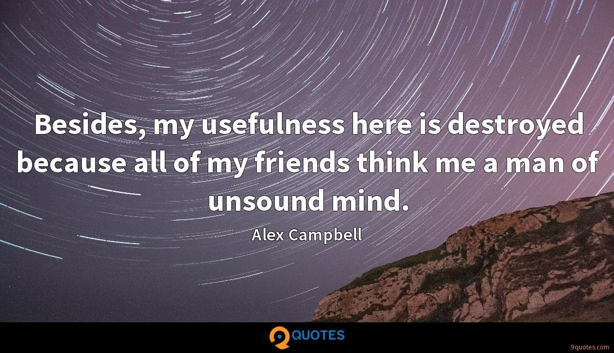 Besides, my usefulness here is destroyed because all of my friends think me a man of unsound mind.