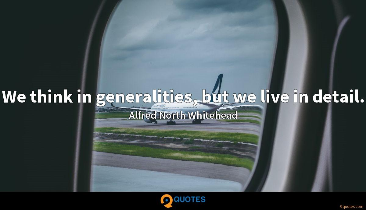 We think in generalities, but we live in detail.