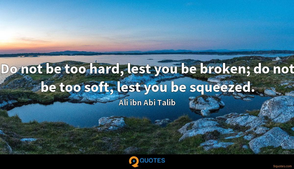 Do not be too hard, lest you be broken; do not be too soft, lest you be squeezed.