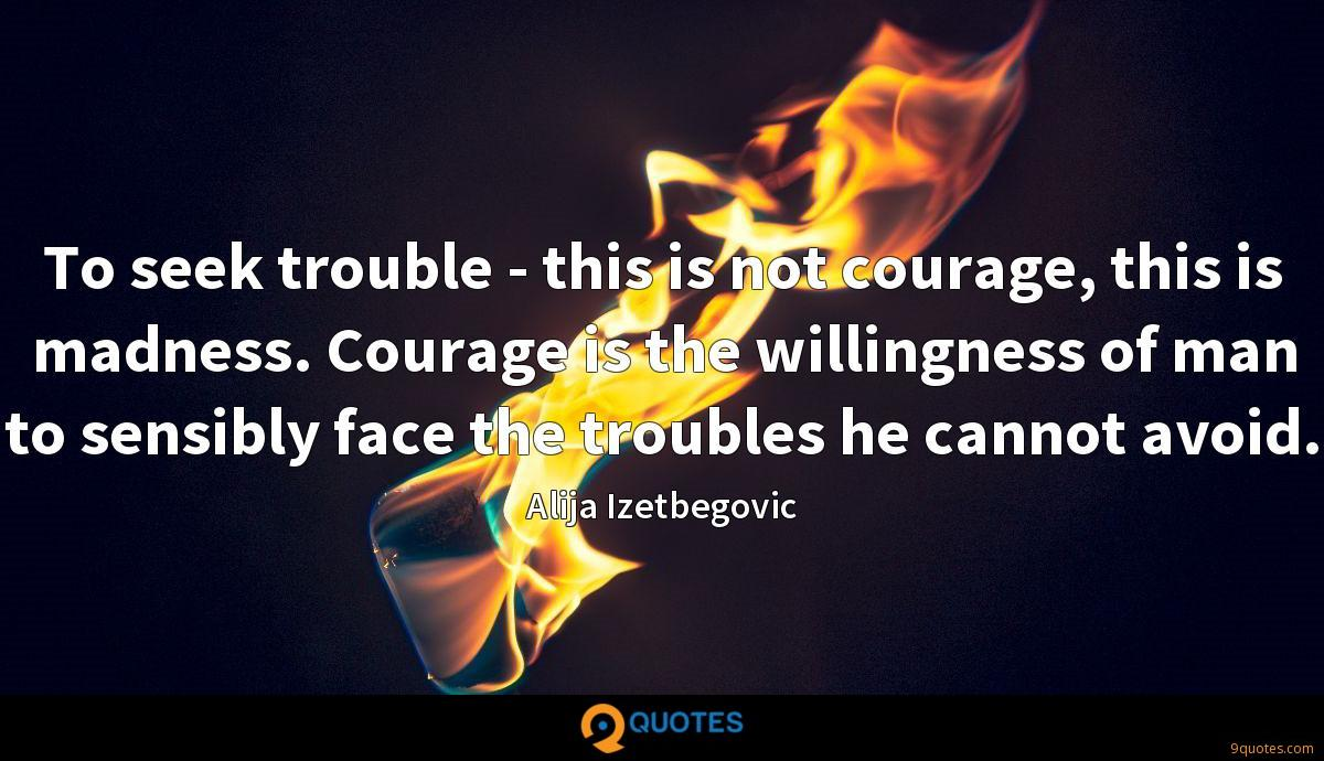 To seek trouble - this is not courage, this is madness. Courage is the willingness of man to sensibly face the troubles he cannot avoid.
