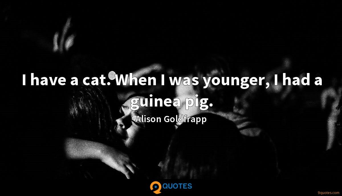 I have a cat. When I was younger, I had a guinea pig.