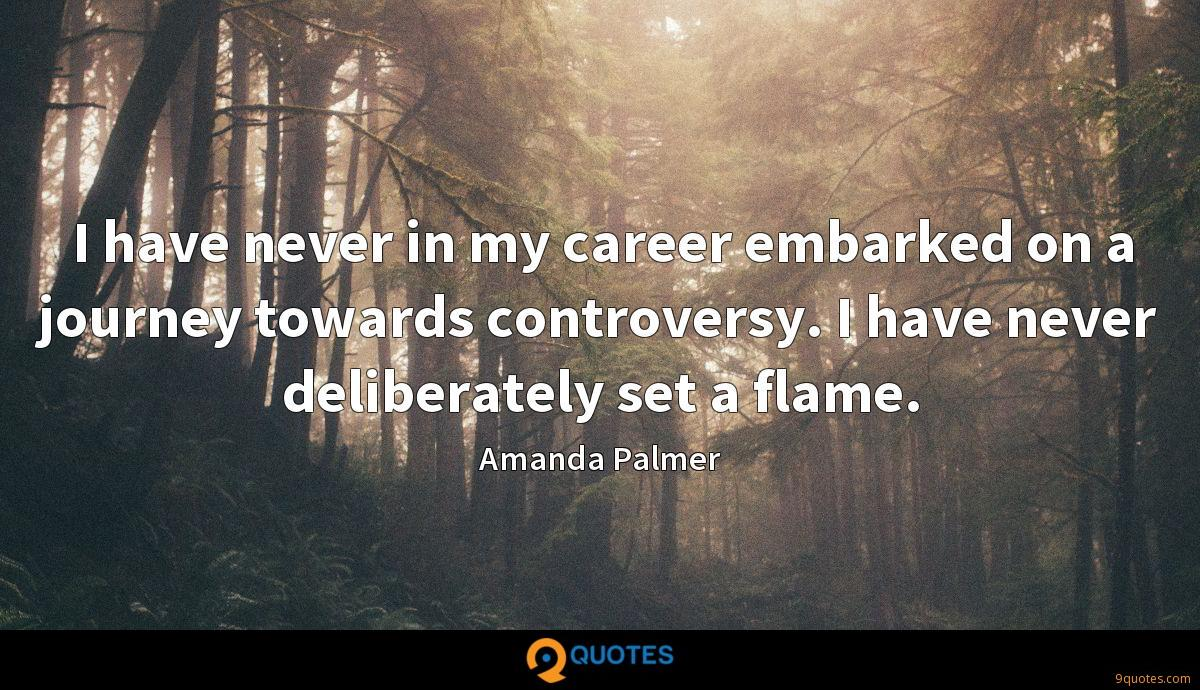 I have never in my career embarked on a journey towards controversy. I have never deliberately set a flame.
