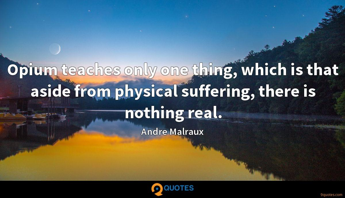 Opium teaches only one thing, which is that aside from physical suffering, there is nothing real.