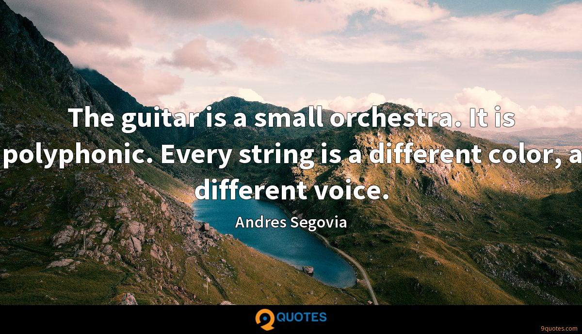 The guitar is a small orchestra. It is polyphonic. Every string is a different color, a different voice.