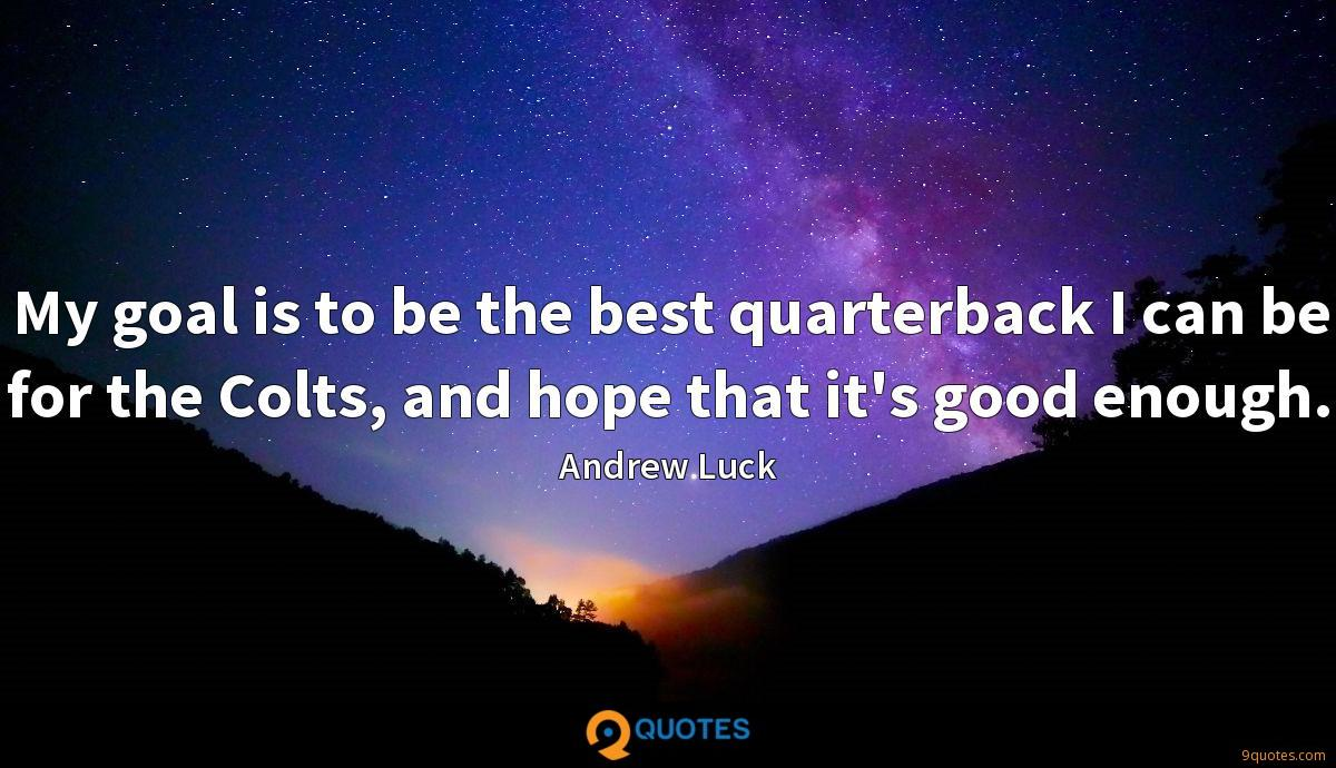 My goal is to be the best quarterback I can be for the Colts, and hope that it's good enough.