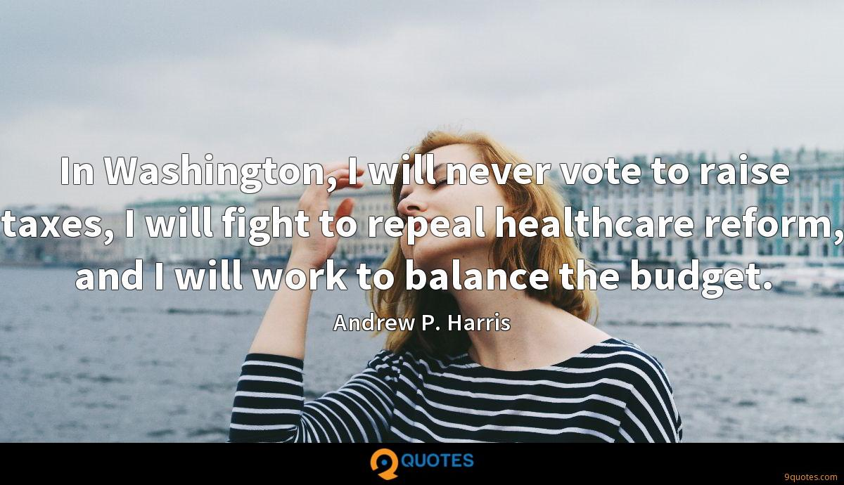 In Washington, I will never vote to raise taxes, I will fight to repeal healthcare reform, and I will work to balance the budget.