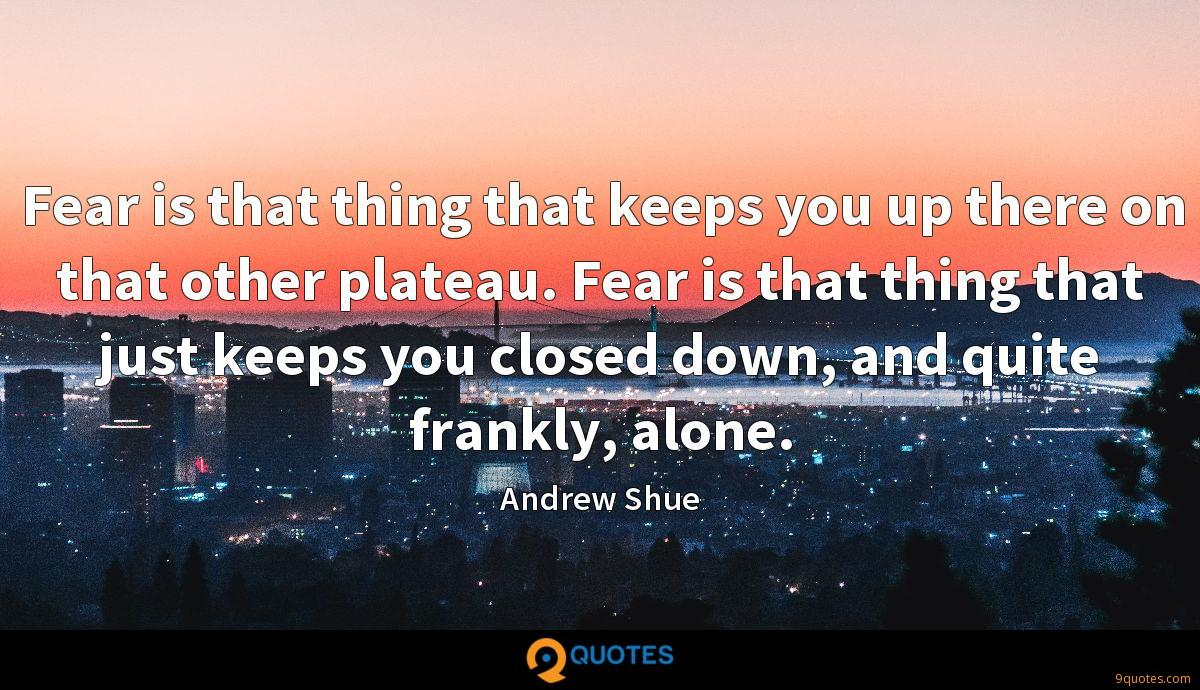 Fear is that thing that keeps you up there on that other plateau. Fear is that thing that just keeps you closed down, and quite frankly, alone.