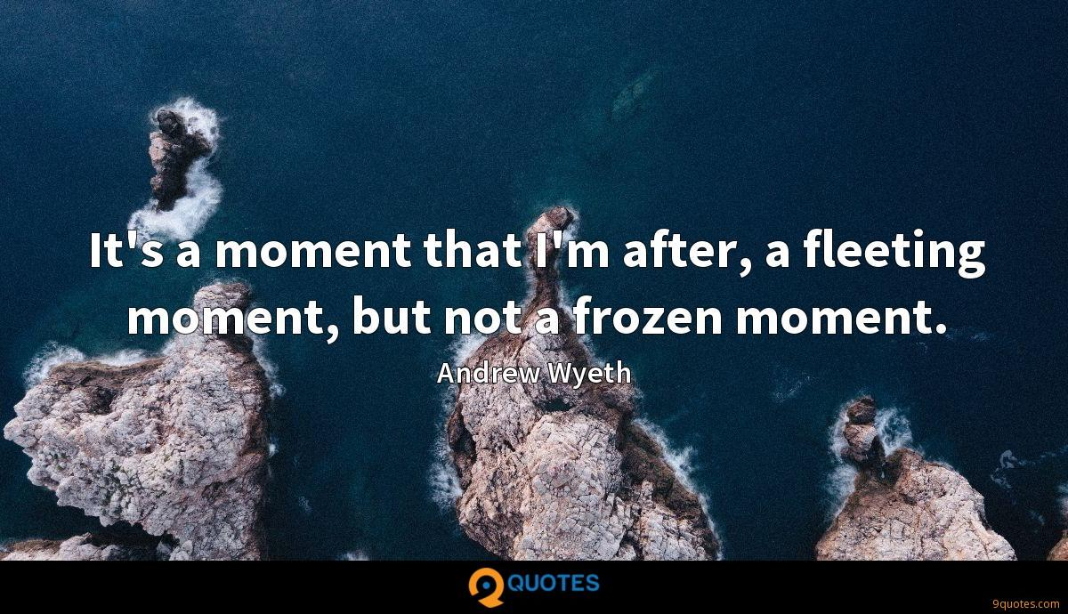 It's a moment that I'm after, a fleeting moment, but not a frozen moment.