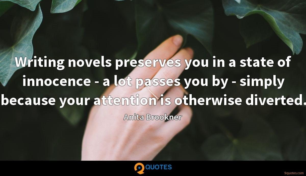 Writing novels preserves you in a state of innocence - a lot passes you by - simply because your attention is otherwise diverted.