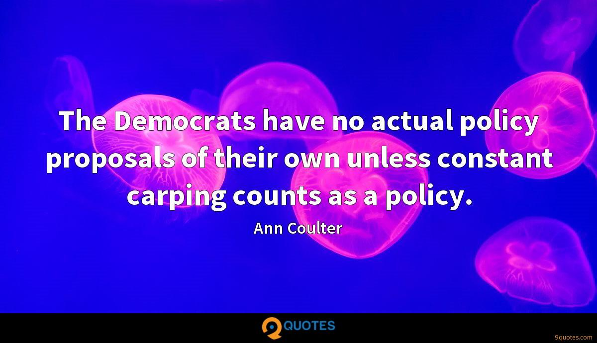 The Democrats have no actual policy proposals of their own unless constant carping counts as a policy.
