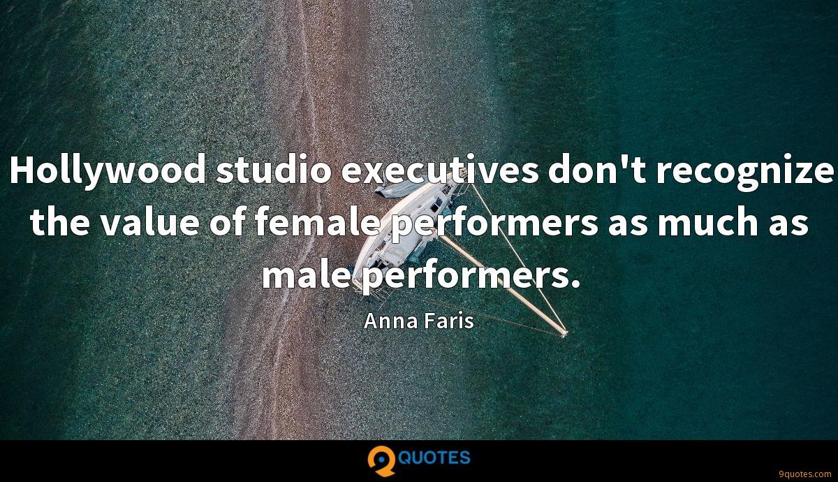 Hollywood studio executives don't recognize the value of female performers as much as male performers.