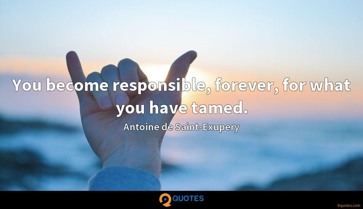 You become responsible, forever, for what you have tamed.