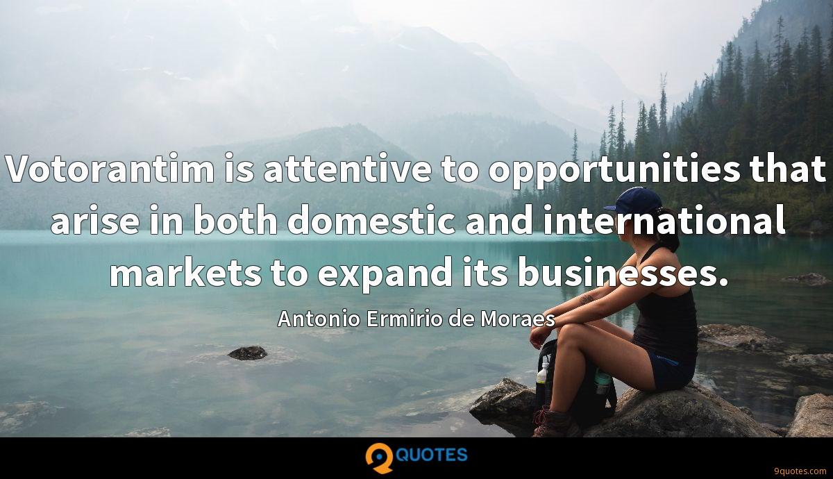 Votorantim is attentive to opportunities that arise in both domestic and international markets to expand its businesses.