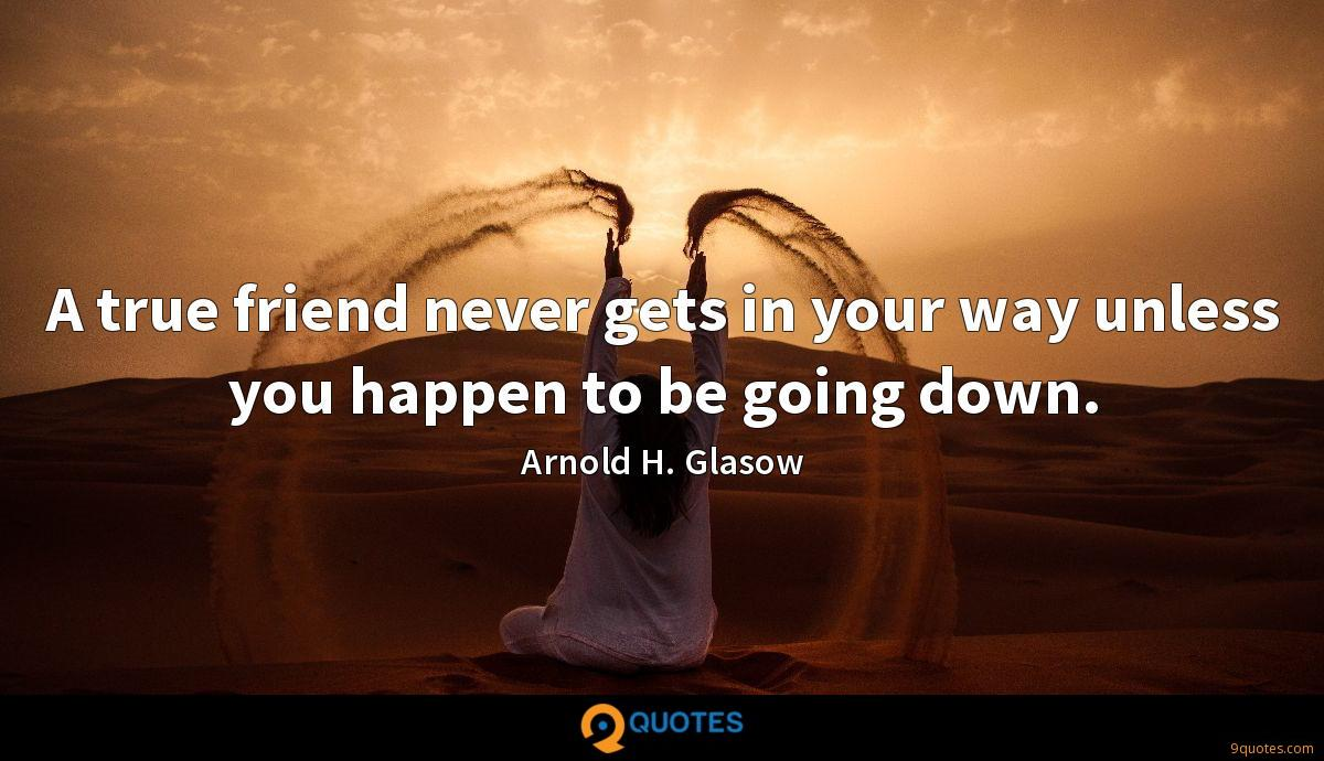 A true friend never gets in your way unless you happen to be going down.
