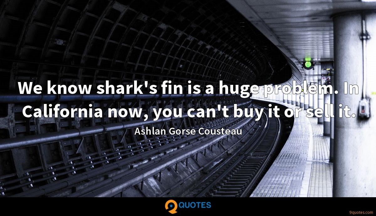 We know shark's fin is a huge problem. In California now, you can't buy it or sell it.