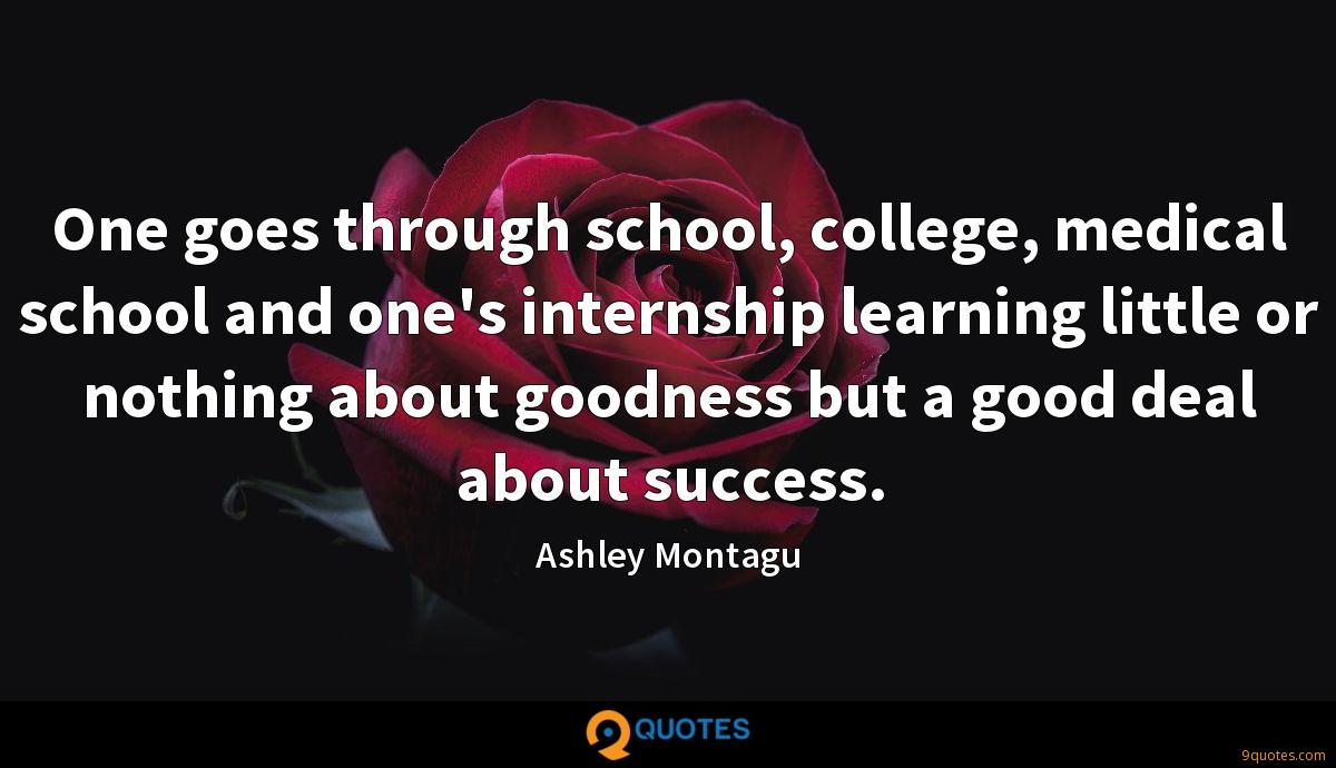 One goes through school, college, medical school and one's internship learning little or nothing about goodness but a good deal about success.