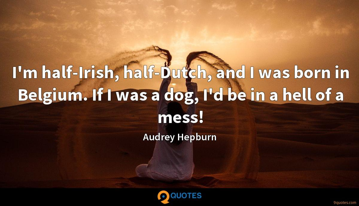 I'm half-Irish, half-Dutch, and I was born in Belgium. If I was a dog, I'd be in a hell of a mess!