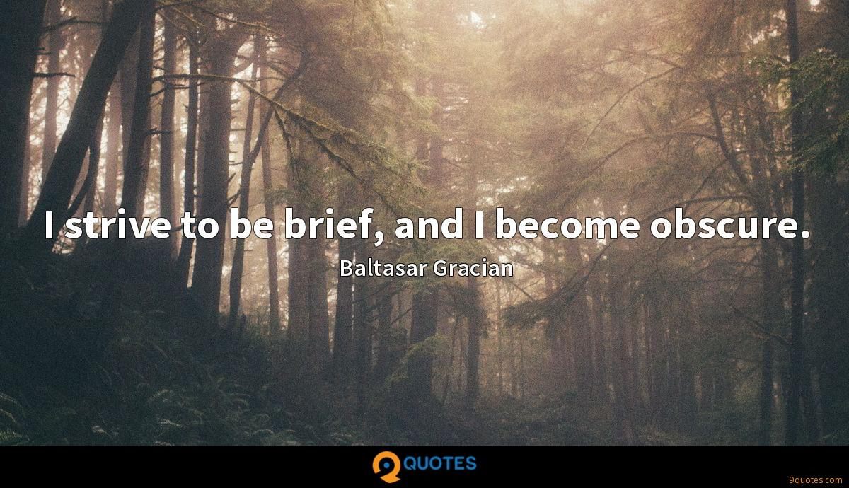 I strive to be brief, and I become obscure.