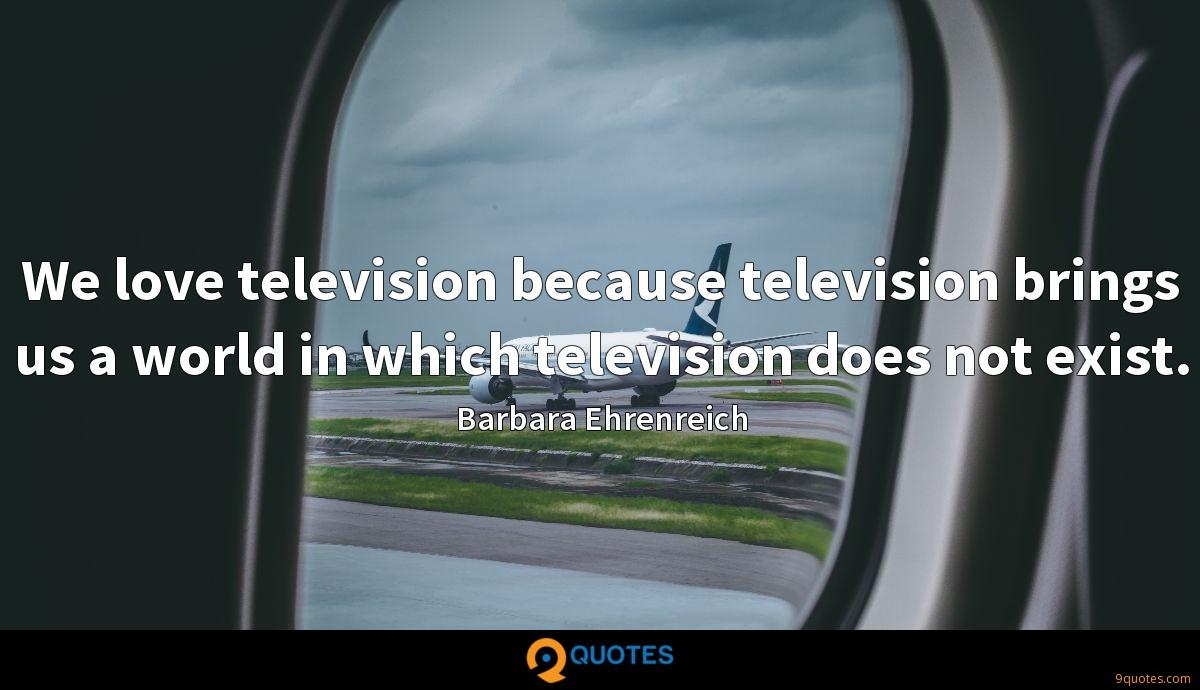 We love television because television brings us a world in which television does not exist.