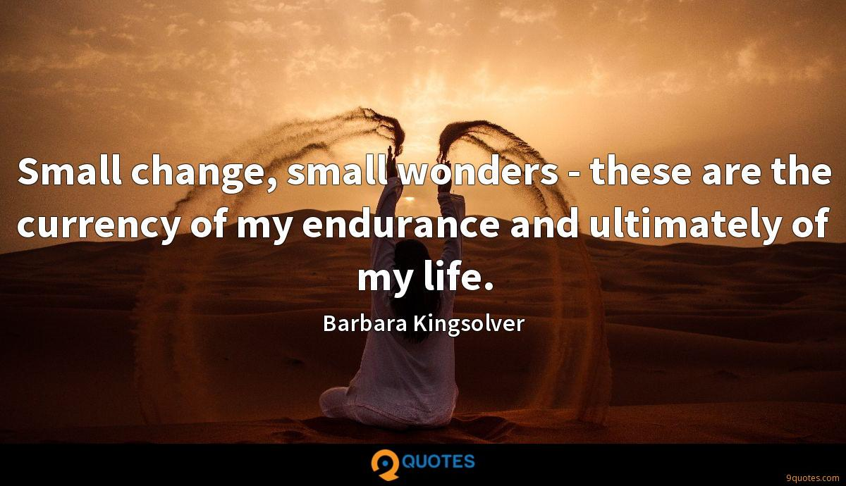 Small change, small wonders - these are the currency of my endurance and ultimately of my life.