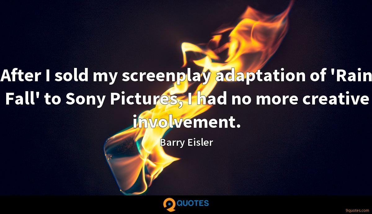 After I sold my screenplay adaptation of 'Rain Fall' to Sony Pictures, I had no more creative involvement.