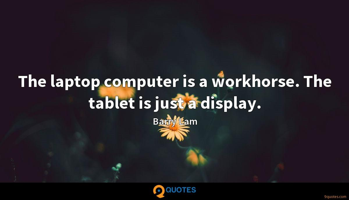 The laptop computer is a workhorse. The tablet is just a display.
