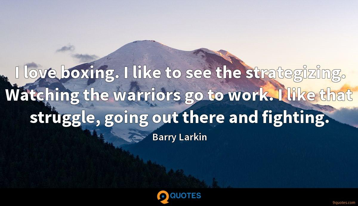 I love boxing. I like to see the strategizing. Watching the warriors go to work. I like that struggle, going out there and fighting.
