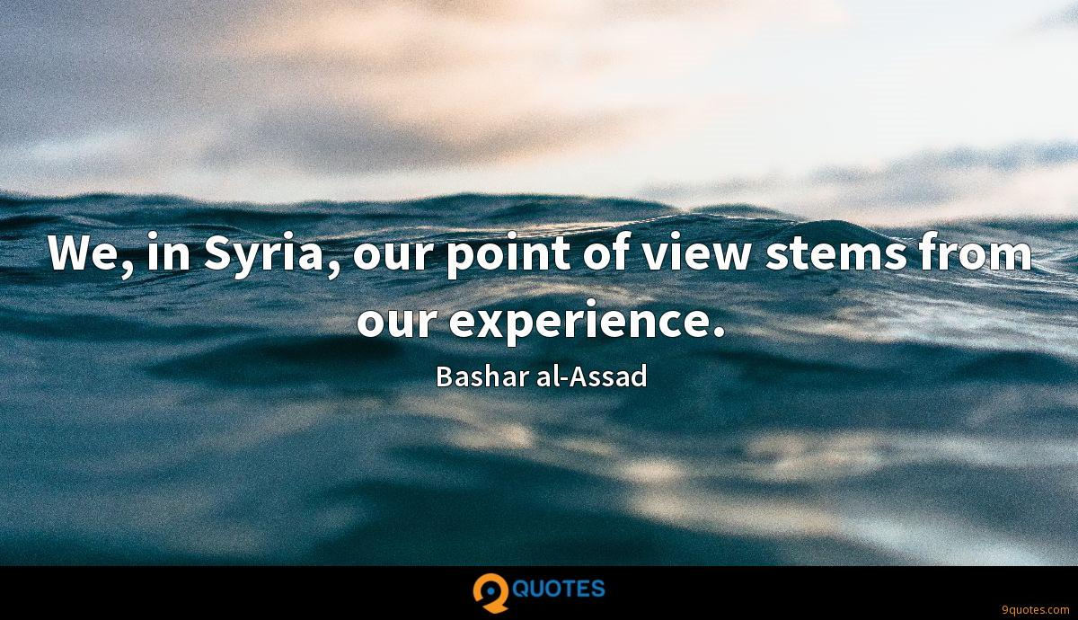 We, in Syria, our point of view stems from our experience.
