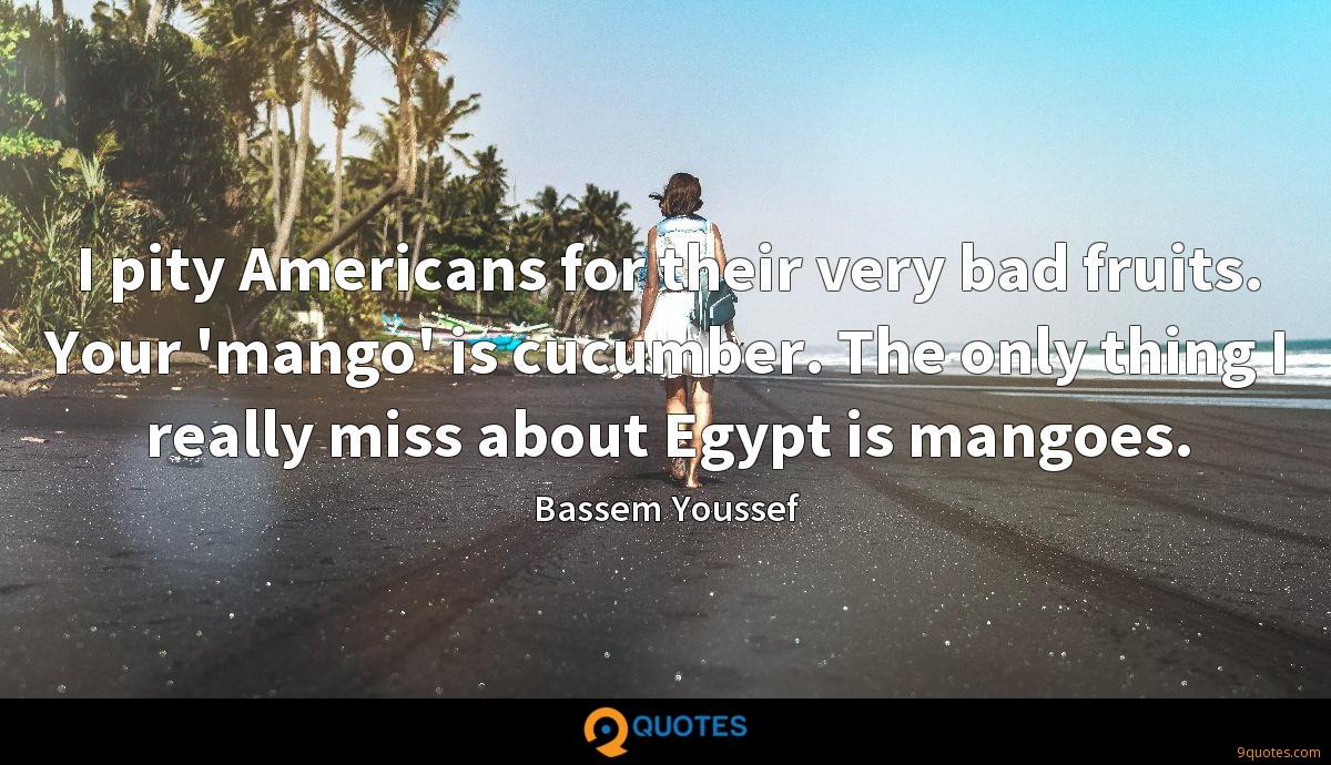 I pity Americans for their very bad fruits. Your 'mango' is cucumber. The only thing I really miss about Egypt is mangoes.