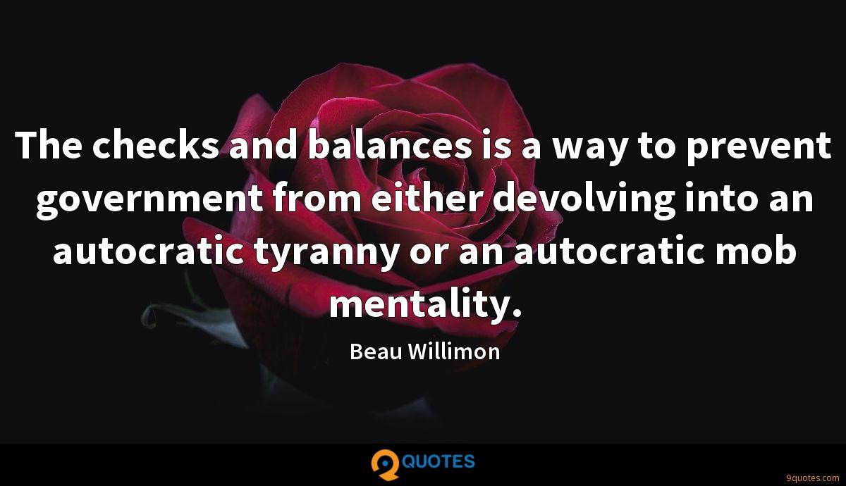 The checks and balances is a way to prevent government from either devolving into an autocratic tyranny or an autocratic mob mentality.