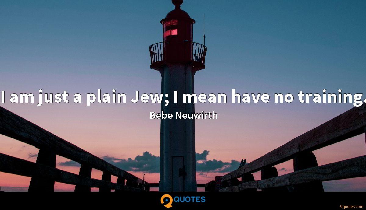 I am just a plain Jew; I mean have no training.