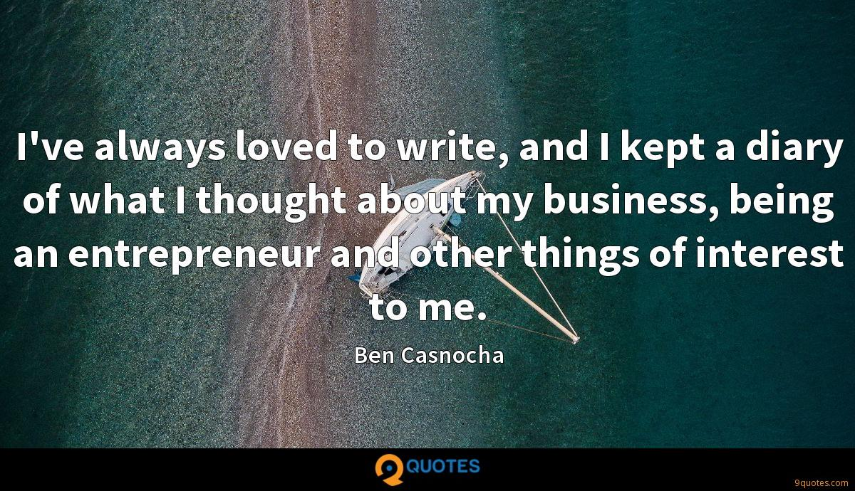 I've always loved to write, and I kept a diary of what I thought about my business, being an entrepreneur and other things of interest to me.