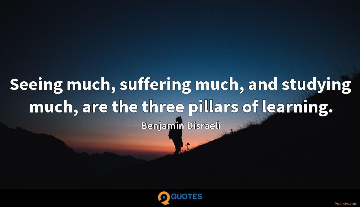 Seeing much, suffering much, and studying much, are the three pillars of learning.