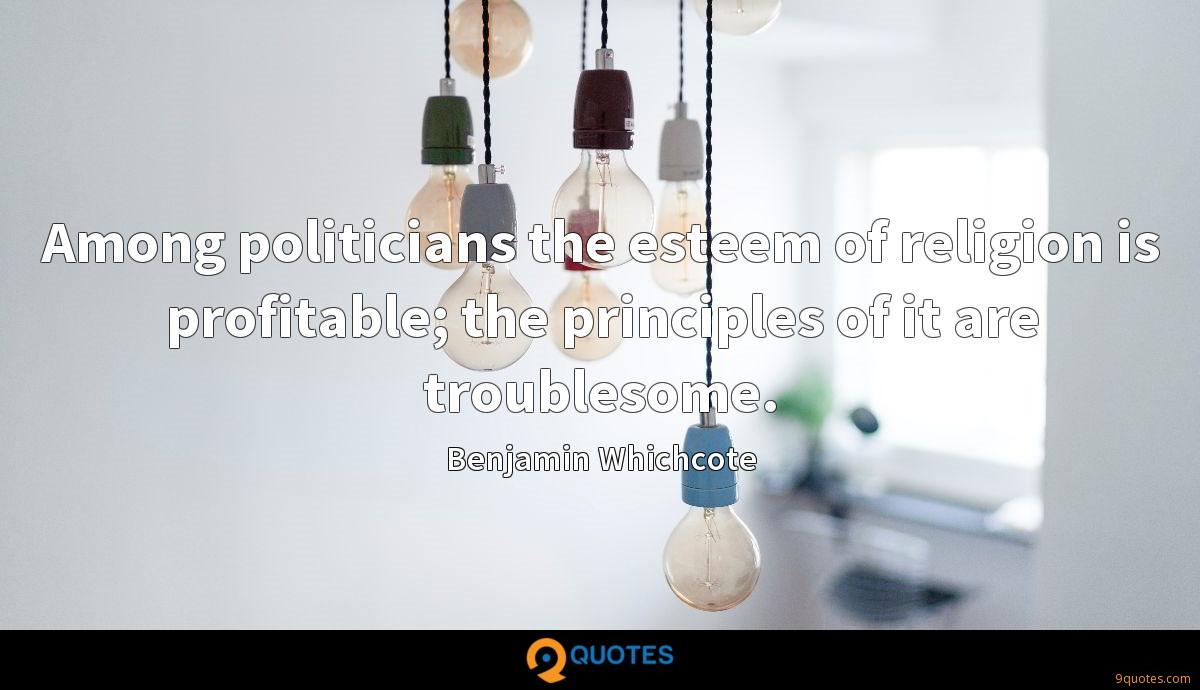 Among politicians the esteem of religion is profitable; the principles of it are troublesome.