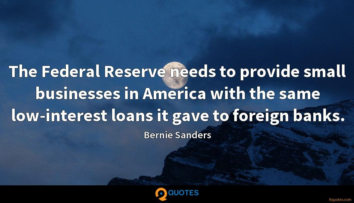 The Federal Reserve needs to provide small businesses in America with the same low-interest loans it gave to foreign banks.