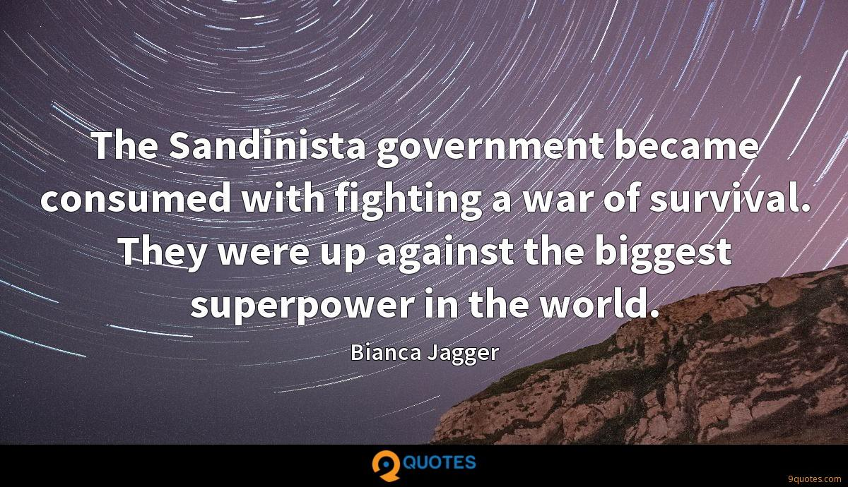 The Sandinista government became consumed with fighting a war of survival. They were up against the biggest superpower in the world.