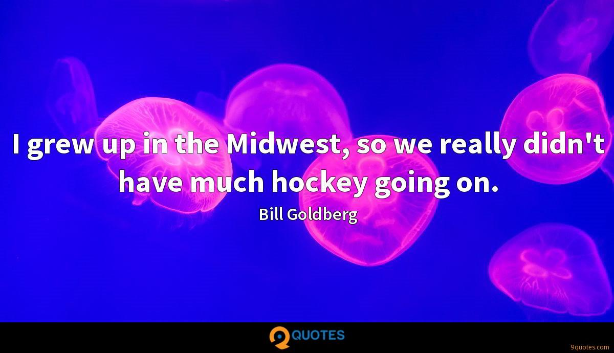 I grew up in the Midwest, so we really didn't have much hockey going on.