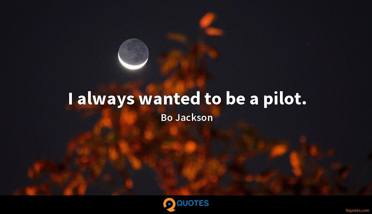 I always wanted to be a pilot.